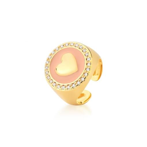 Anel Regulável Esmaltado Rosa e Coração Banhado a Ouro