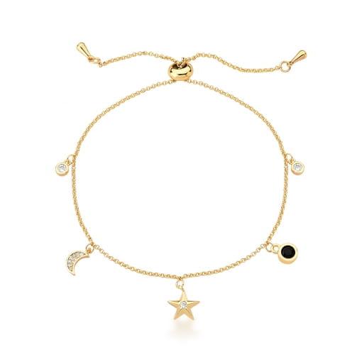 Pulseira Shambala com Pingente de Estrela e Lua Banhada a Ouro