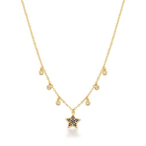 Corrente com Pingente de Estrela Safira Banhada a Ouro