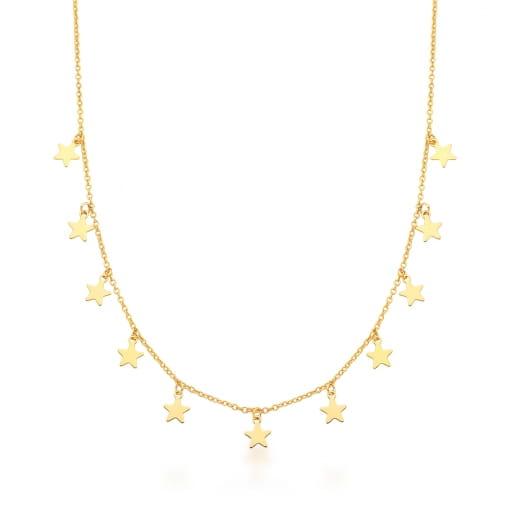 Colar com Pingentes de Estrelas Lisas Banhado a Ouro