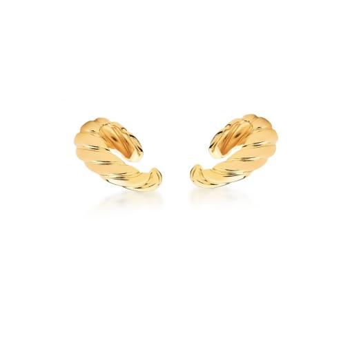 Piercing de Orelha Ear Hook Trançado e Liso Banhado a Ouro