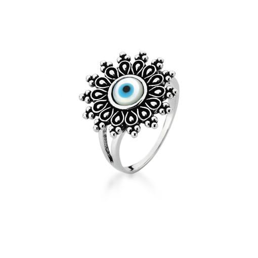 Anel Redondo Olho Grego em Madrepérola Prata Envelhecida