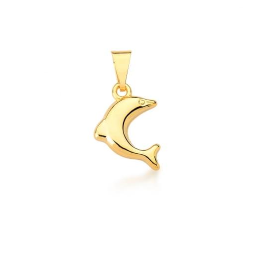 Pingente de Golfinho Liso Banhado a Ouro