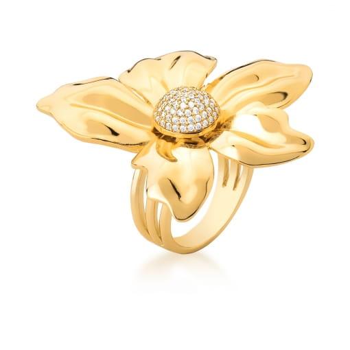 Anel Flor com Zircônias Brancas Banhado a Ouro