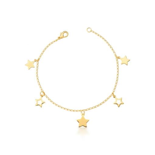 Pulseira com Pingentes de Estrelas Lisas Banhada a Ouro