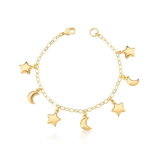 Pulseira com Pingentes de Lua e Estrela Lisa Banhada a Ouro