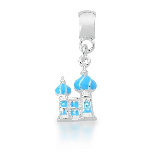 Pingente Berloque de Castelo Esmaltado Azul Banhado a Prata
