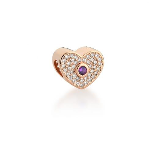 Berloque de Coração com Cristal Roxo Banhado a Ouro Rosê