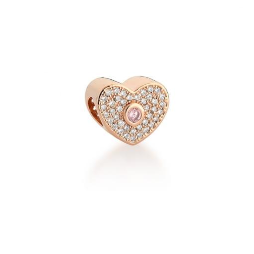 Berloque de Coração com Cristal Rosa Banhado a Ouro Rosê
