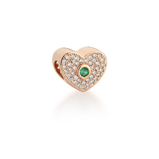 Berloque de Coração com Cristal Verde Banhado a Ouro Rosê