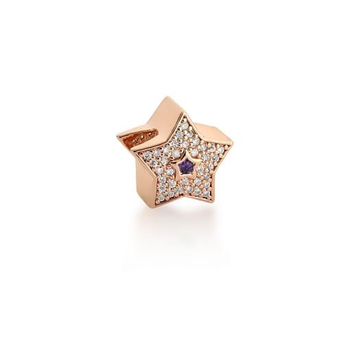 Berloque de Estrela com Cristal Roxo Banhado a Ouro Rosê
