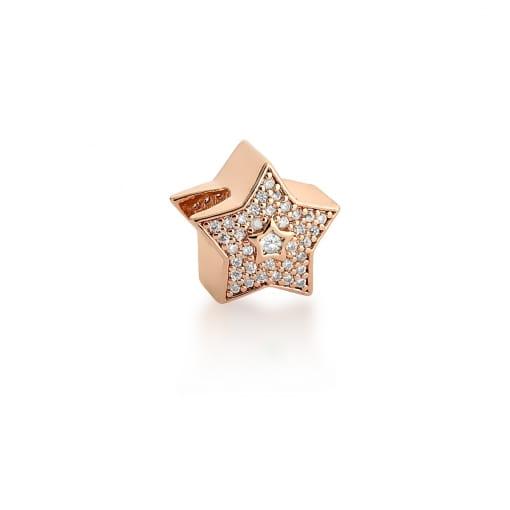 Berloque de Estrela com Cristal Branco Banhado a Ouro Rosê