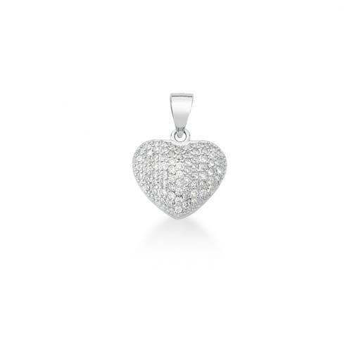 Pingente de Coração Cravejado Branco em Prata Rodinada