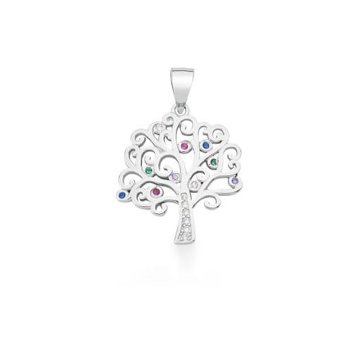 Pingente Árvore da Vida com Zircônias Coloridas Prata Rodinada