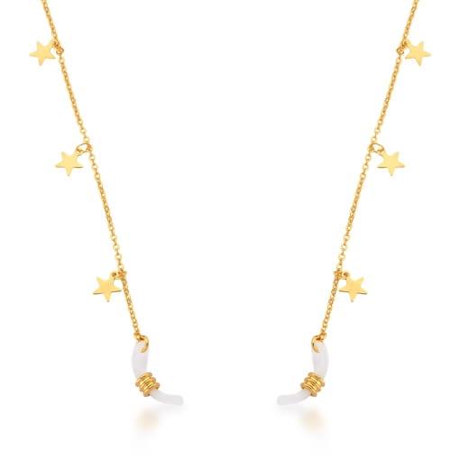 Corrente Para Óculos com Pingentes de Estrelas Banhada a Ouro