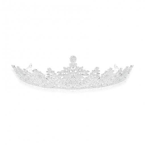 Coroa Para Noiva/Flores com Zircônias Brancas Folheada a Ródio