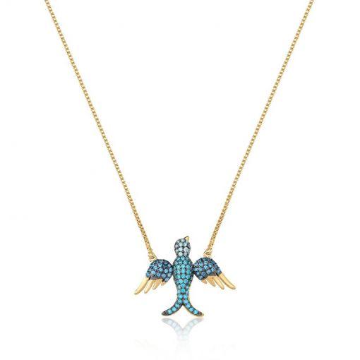 Corrente com Pingente de Pássaro Cor Azul Folheada a Ouro