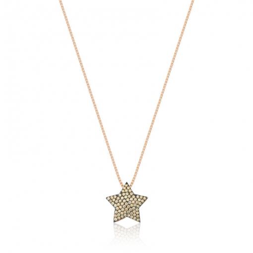 Corrente com Pingente de Estrela Folheada a Ouro Rosê Escuro