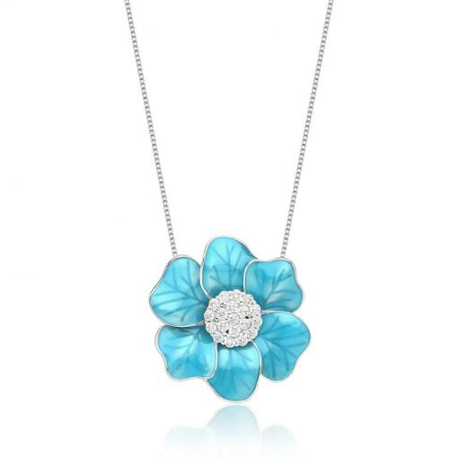 Corrente e Pingente Flor Esmaltado na Cor Azul Folheada a Ródio