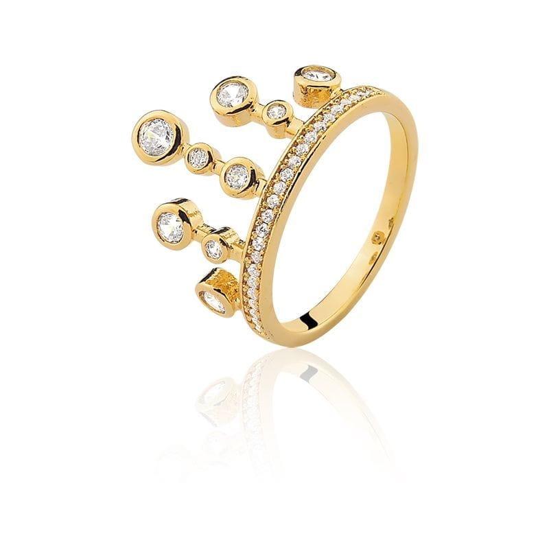 Anel em Formato de Coroa Com Zircônias Brancas Folheado a Ouro
