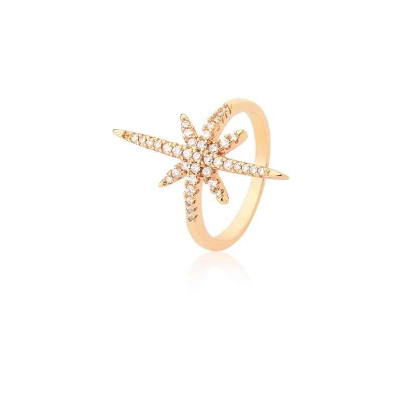 Anel de Estrela com Zircônias Brancas Folheado a Ouro Champagne