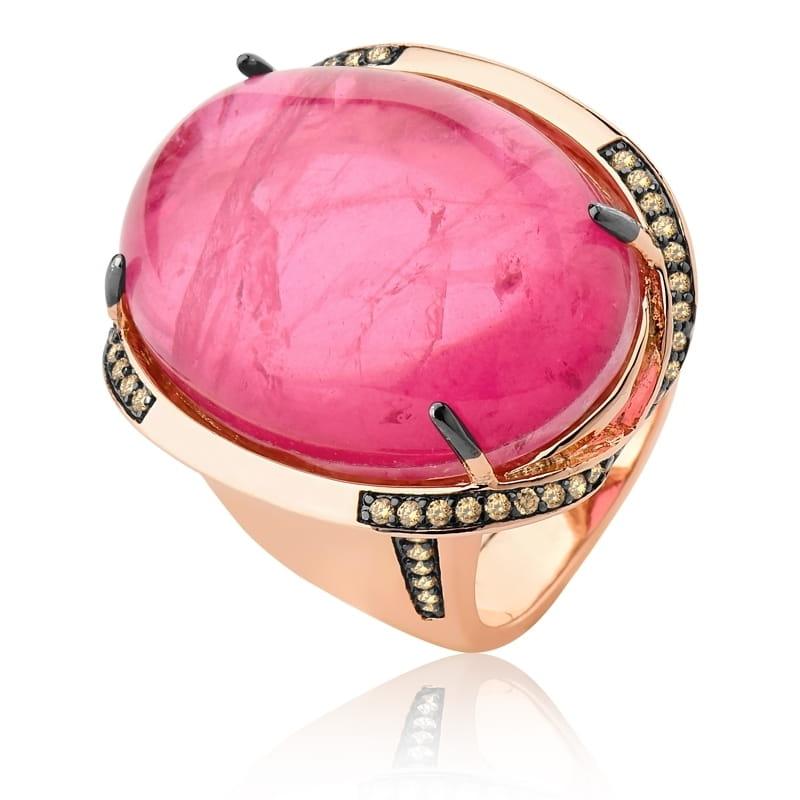 Anel com Cabochão Oval na Cor Rosa Folheado a Ouro Rosê