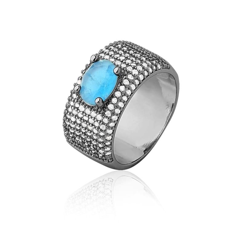 Anel com Cristal Oval Azul Piscina Folheado a Ródio Negro