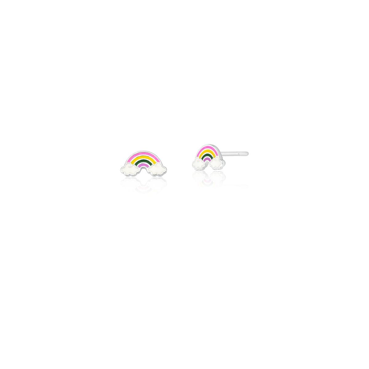 Brinco Kids de Arco-Íris Esmaltado Colorido Prata Lisa