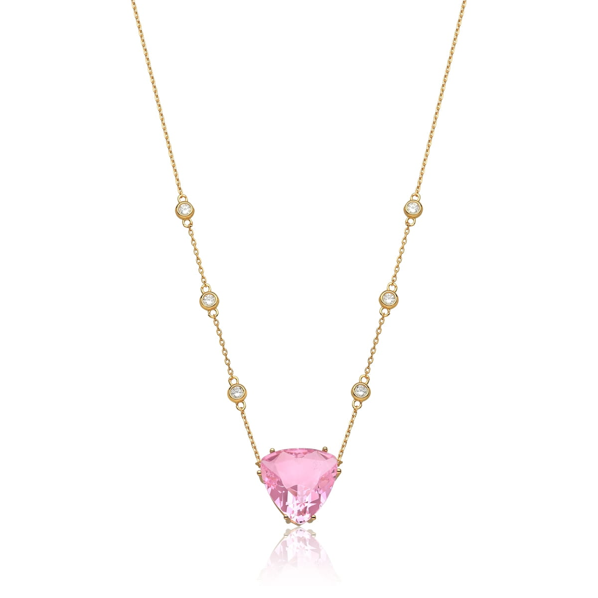 Corrente com Pingente Cristal Triangular Rosa Folheada a Ouro