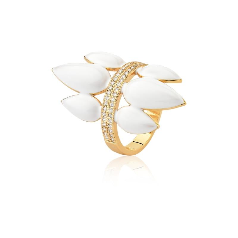 Anel com Gotas Esmaltadas Brancas Folheado a Ouro