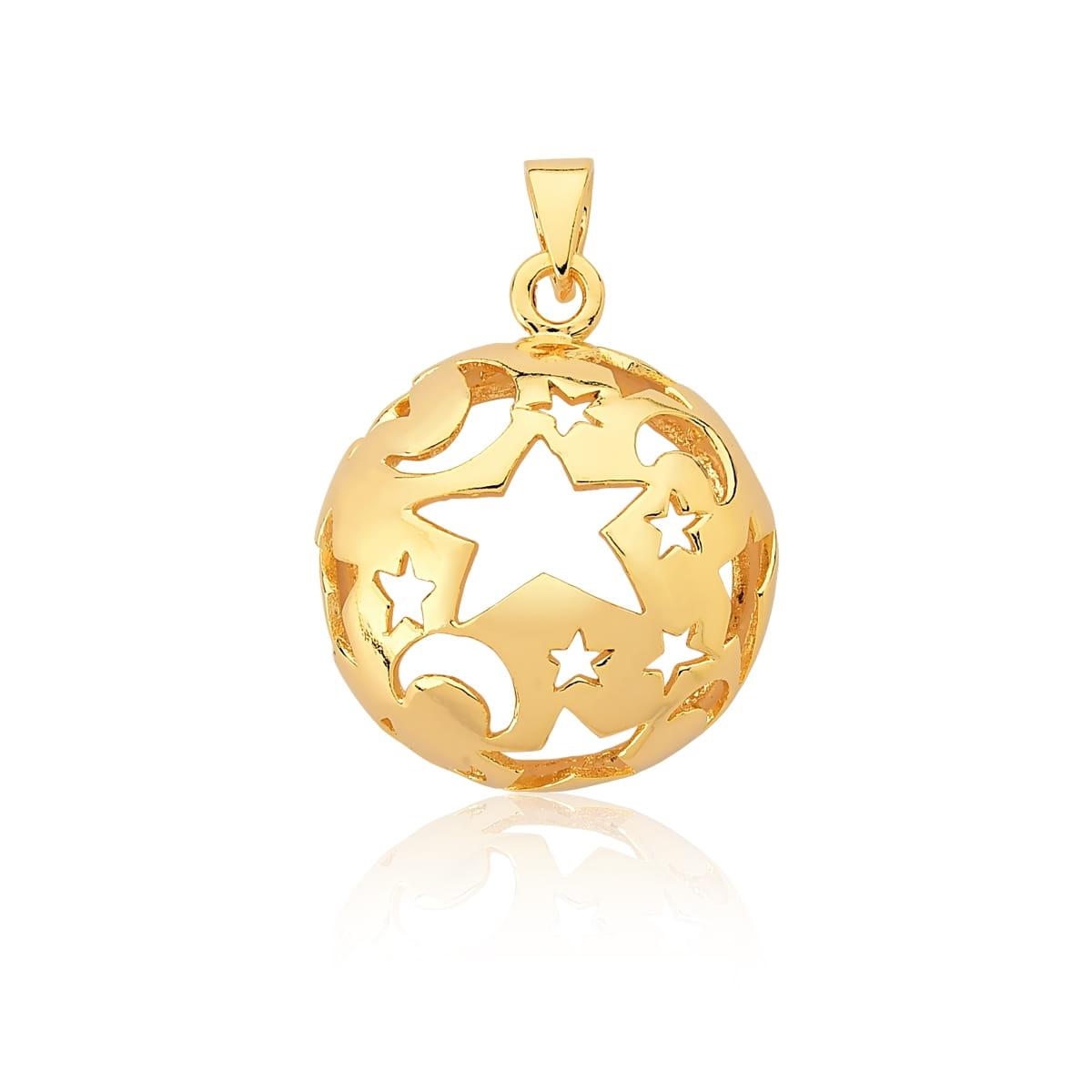 Pingente Redondo com Estrelas e Luas Vazados Banhado a Ouro