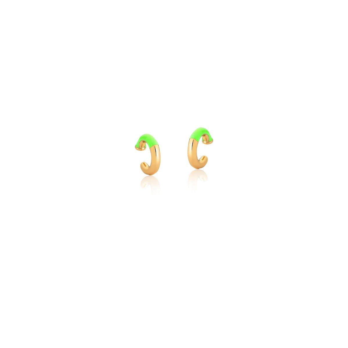 Piercing de Orelha Esmaltado na Cor Verde Banhado a Ouro