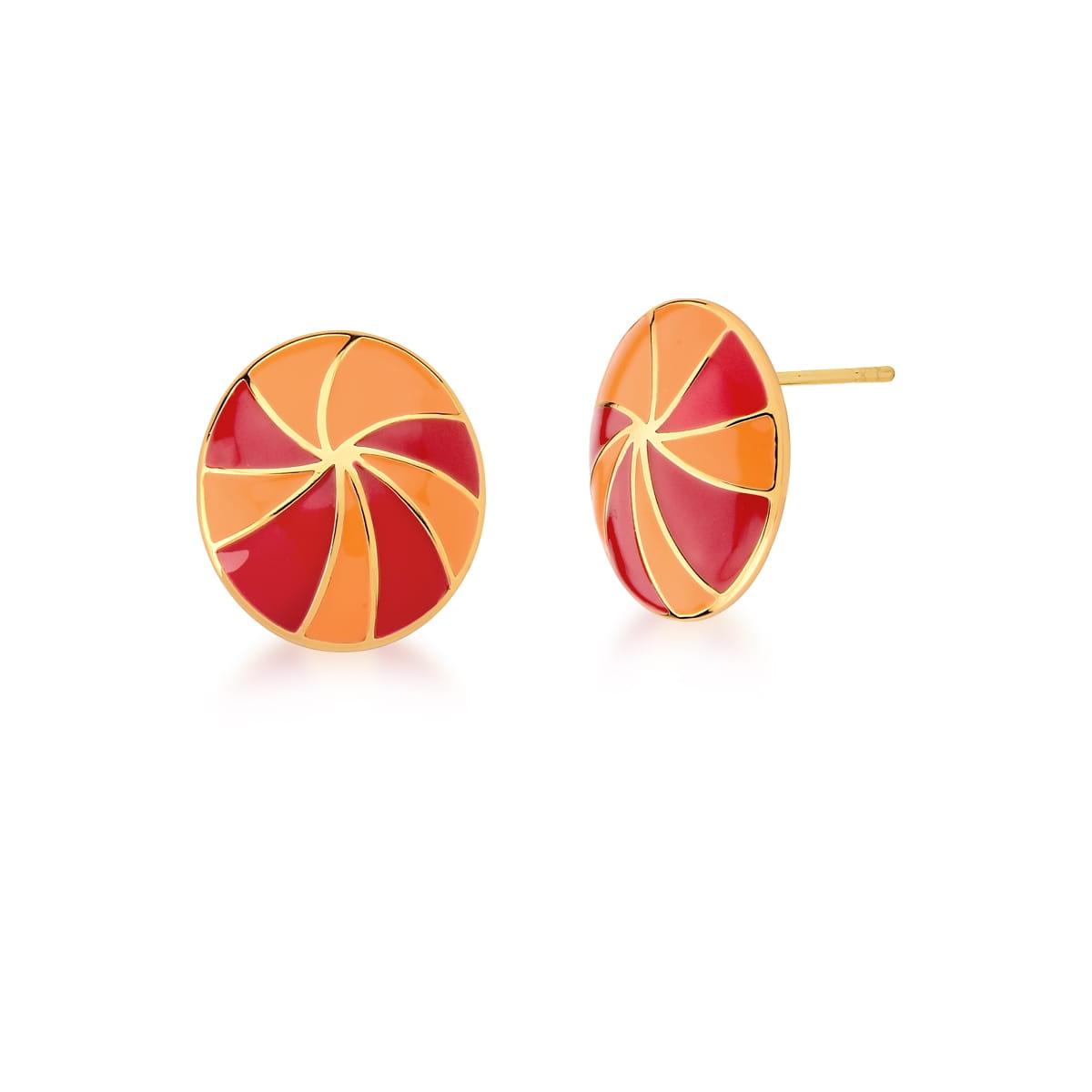 Brinco Oval Esmaltado Alaranjado e Vermelho Banhado a Ouro