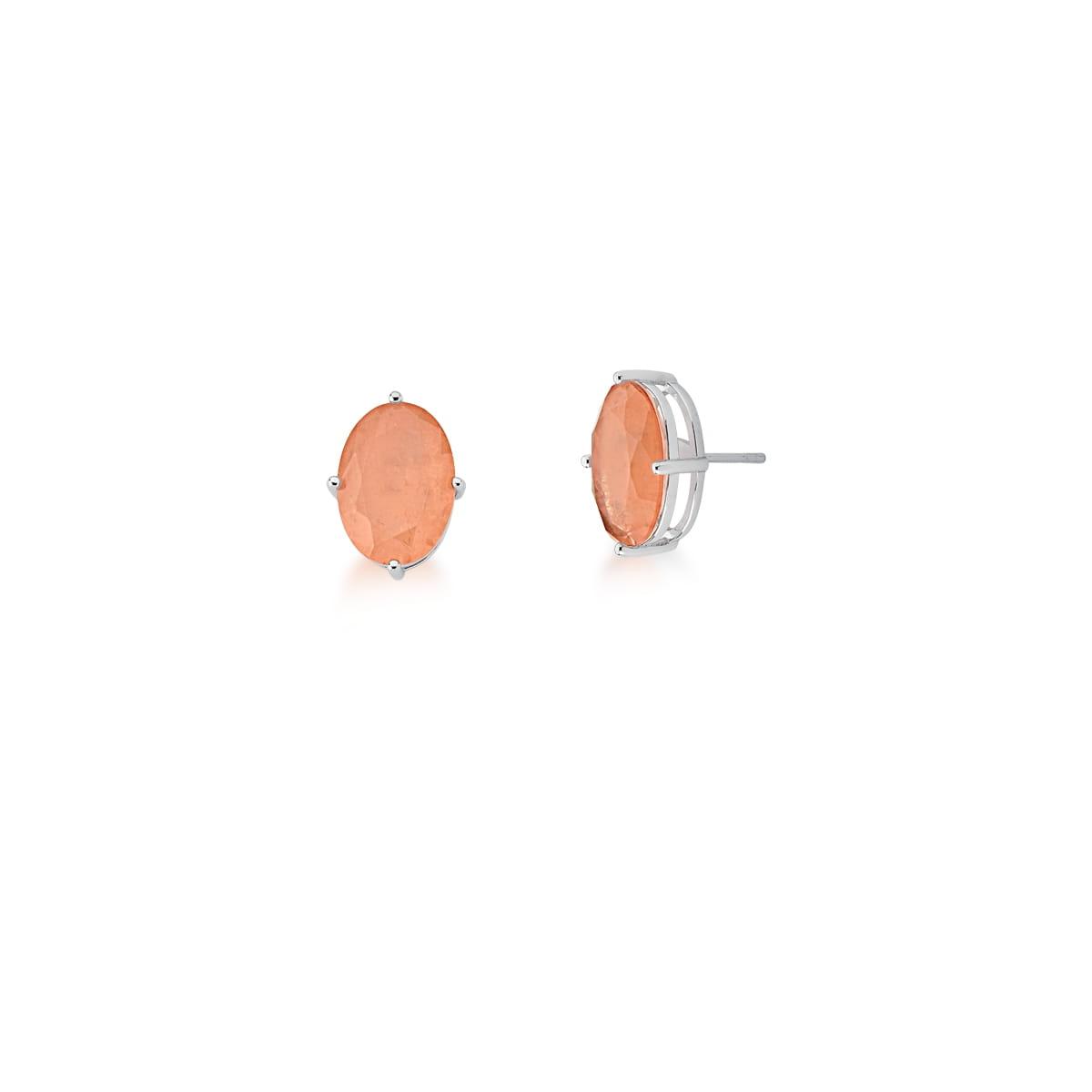 Brinco com Cristal Oval Fusion Alaranjado Banhado a Ródio
