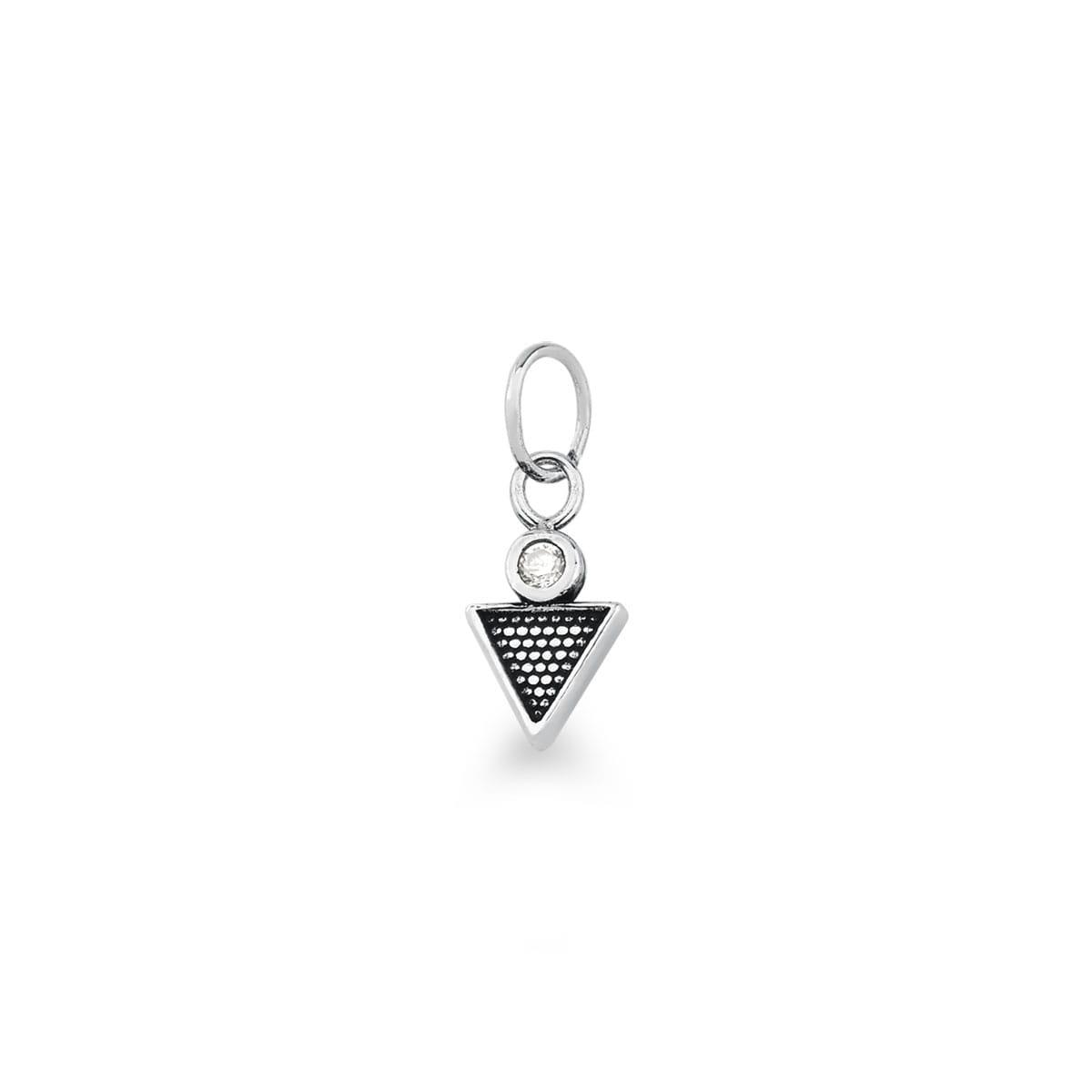 Pingente Triangular com Ponto de Luz em Prata Envelhecida