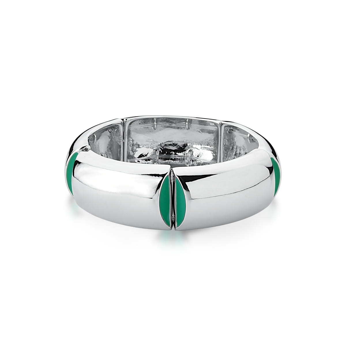 Bracelete Liso e Esmaltado Verde Banhado a Ródio