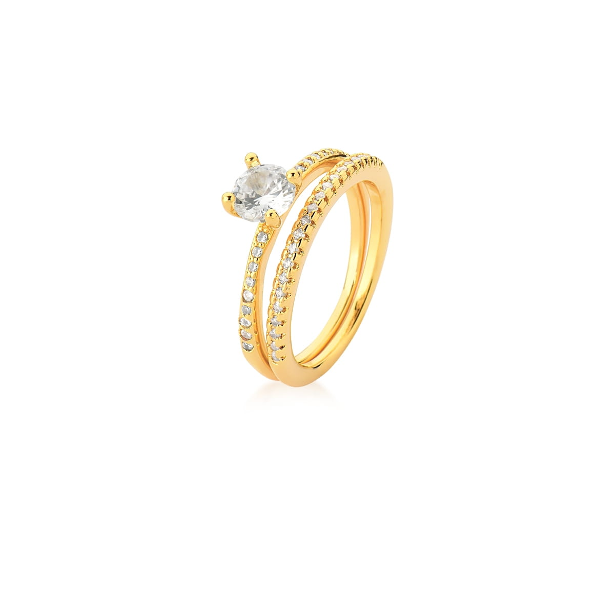 Anel Duplo com Cristal Oval e Zircônias Brancas Banhado a Ouro