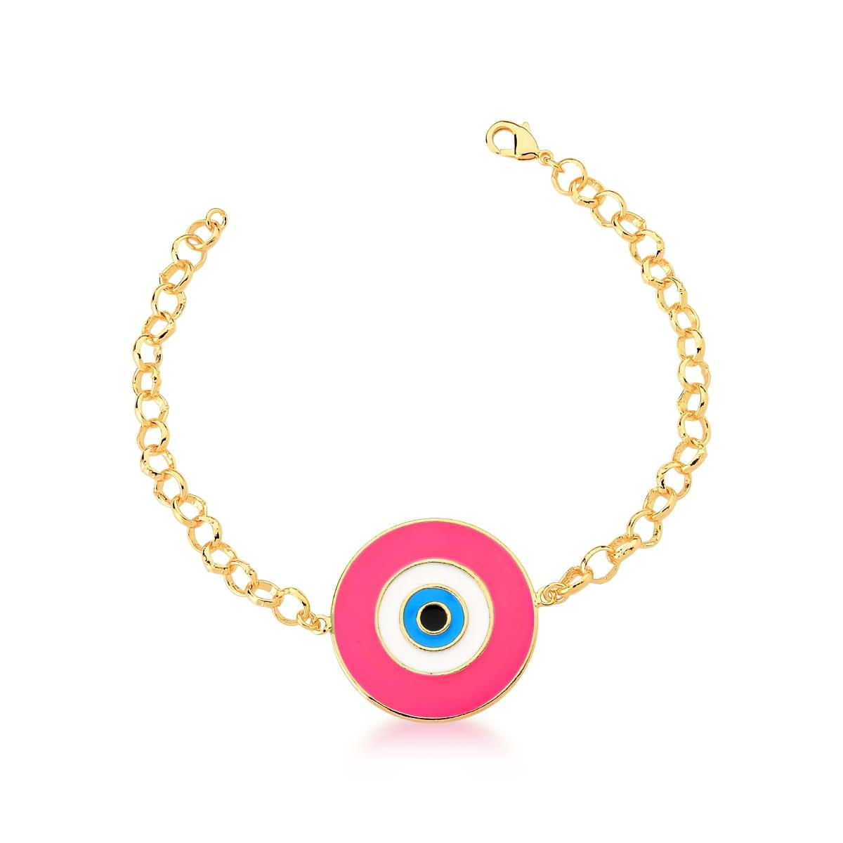 Pulseira com Elos e Pingente de Olho Pink Banhada a Ouro