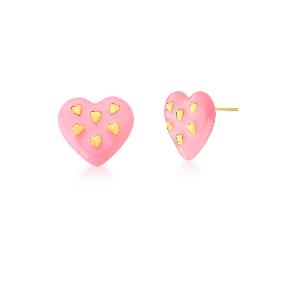 Brinco de Coração Esmaltado na Cor Rosa Banhado a Ouro