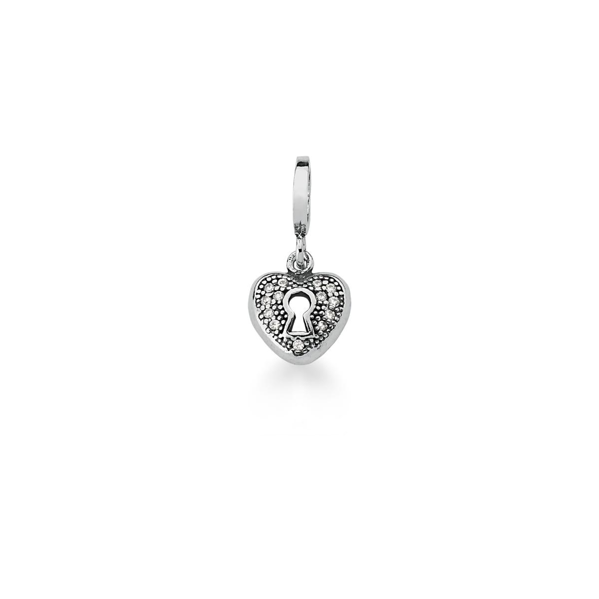 Pingente Berloque de Coração Branco Prata Envelhecida