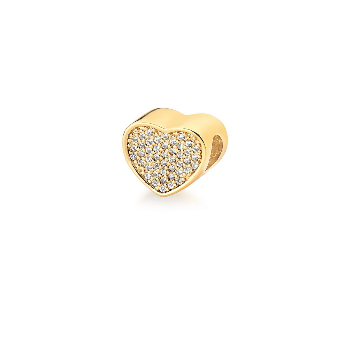 Berloque de Coração com Zircônias Brancas Banhado a Ouro