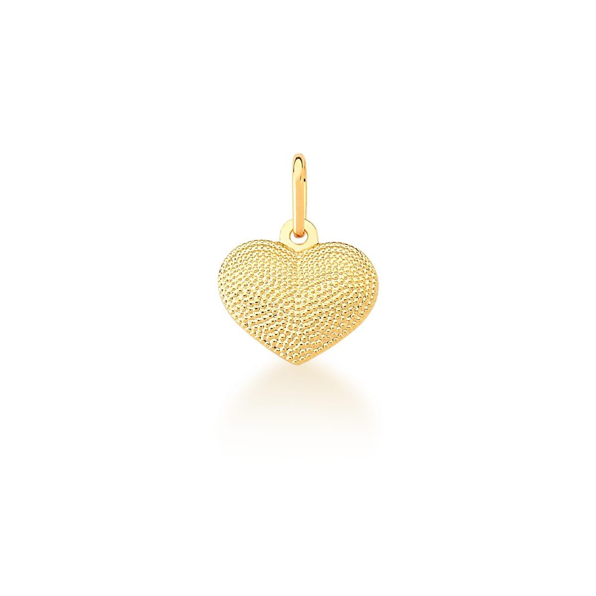 Pingente de Coração Trabalhado e Liso Banhado a Ouro
