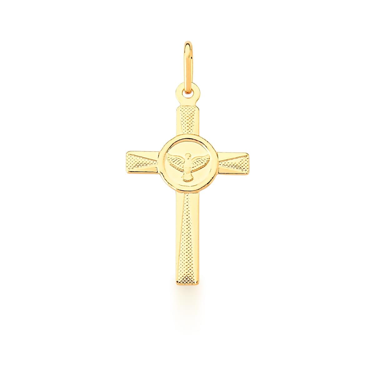 Pingente de Cruz com Divino Espírito Santo Liso Banhado a Ouro