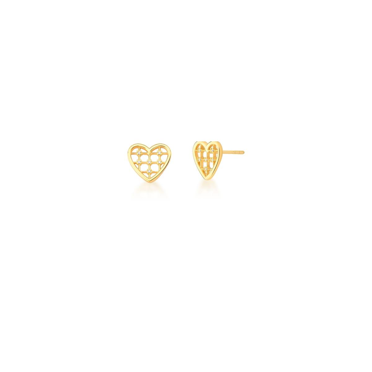 Brinco de Coração Vazado com Zircônias Banhado a Ouro
