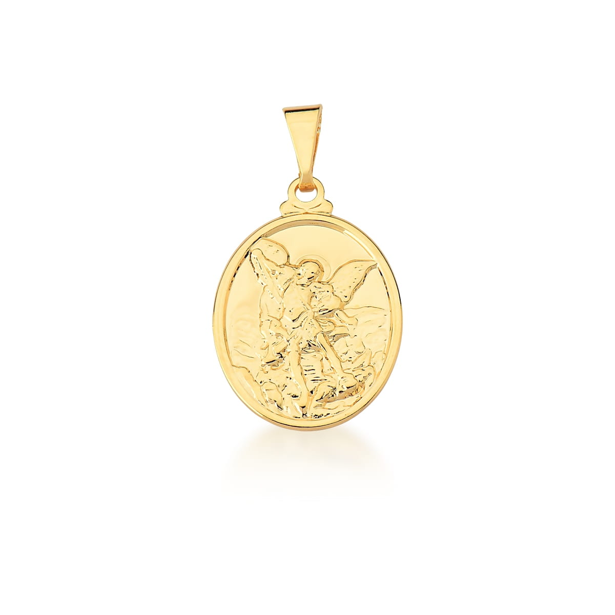 Pingente Oval com Imagem São Miguel Arcanjo Liso Banhado a Ouro