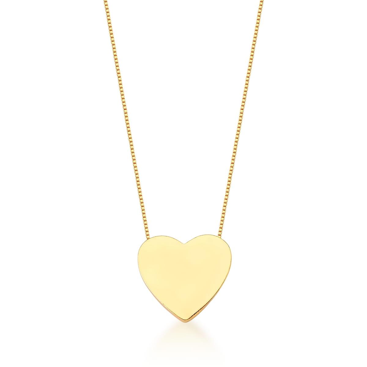 Corrente com Pingente de Coração Liso Banhada a Ouro