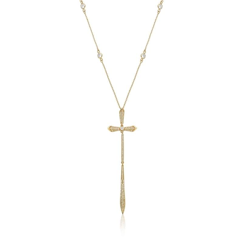 Corrente com Pingente de Crucifixo Cravejada Folheada a Ouro